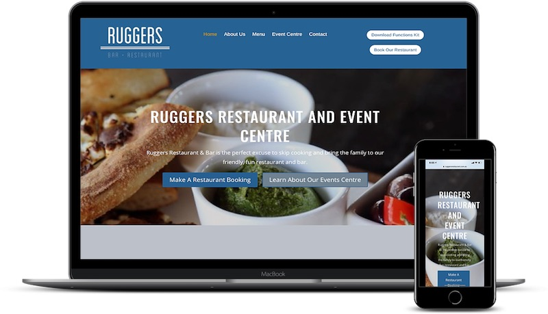 Ruggers Restaurant Website on a laptop and iphone